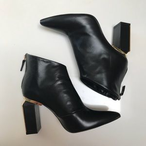 Zara Gold Heeled Ankle Boots Size 37